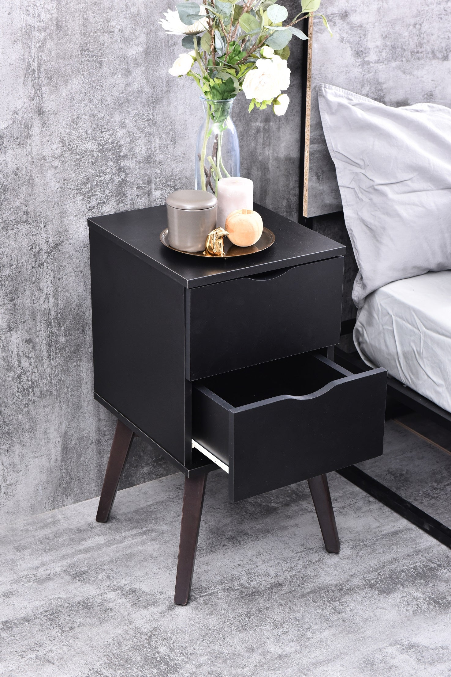 Hubie bedside table with drawers, black