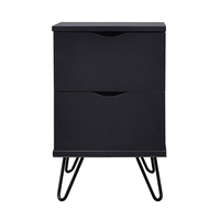 Flex bedside table with drawers, black