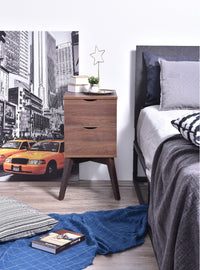 Hubie bedside table with drawers, columbia walnut