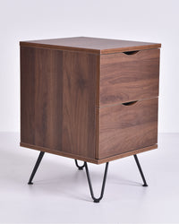 Flex bedside table with drawers, columbia walnut