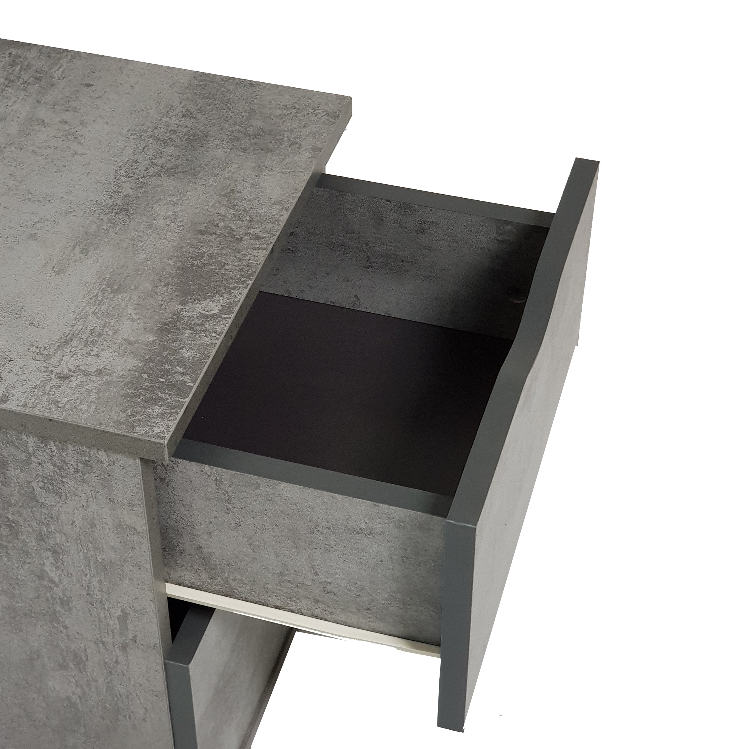 Flex bedside table with drawers, iron slate