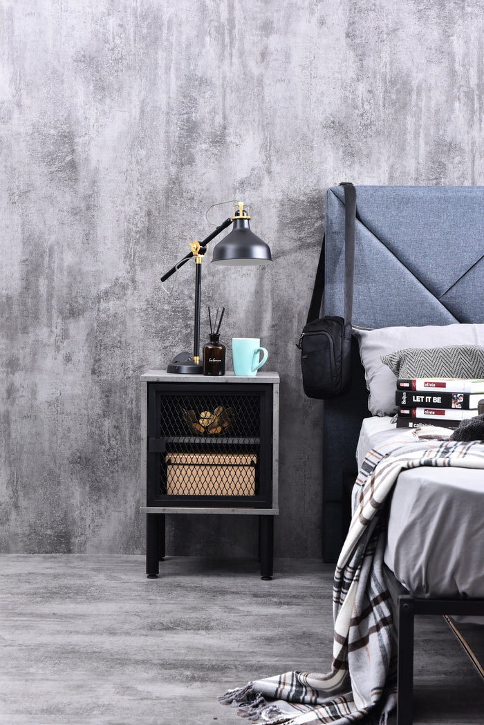 Avice industrial mesh bedside table, iron slate