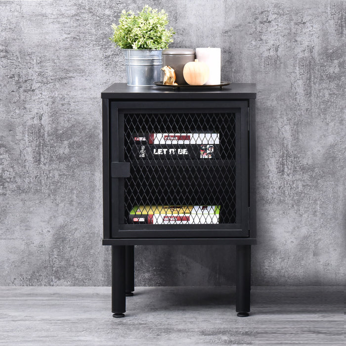 Avice industrial mesh bedside table, black