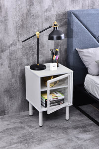 Avice industrial mesh bedside table, white