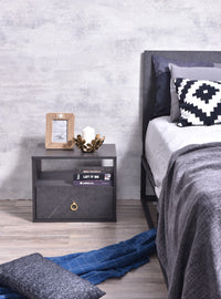 Roco Bedside Table, Grey Stone