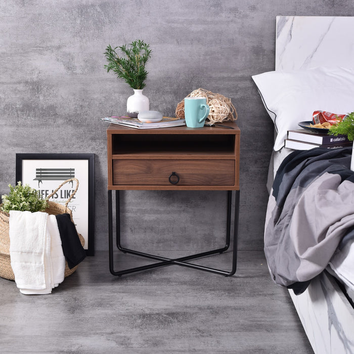 Fredo Bedside Table, Columbia Walnut
