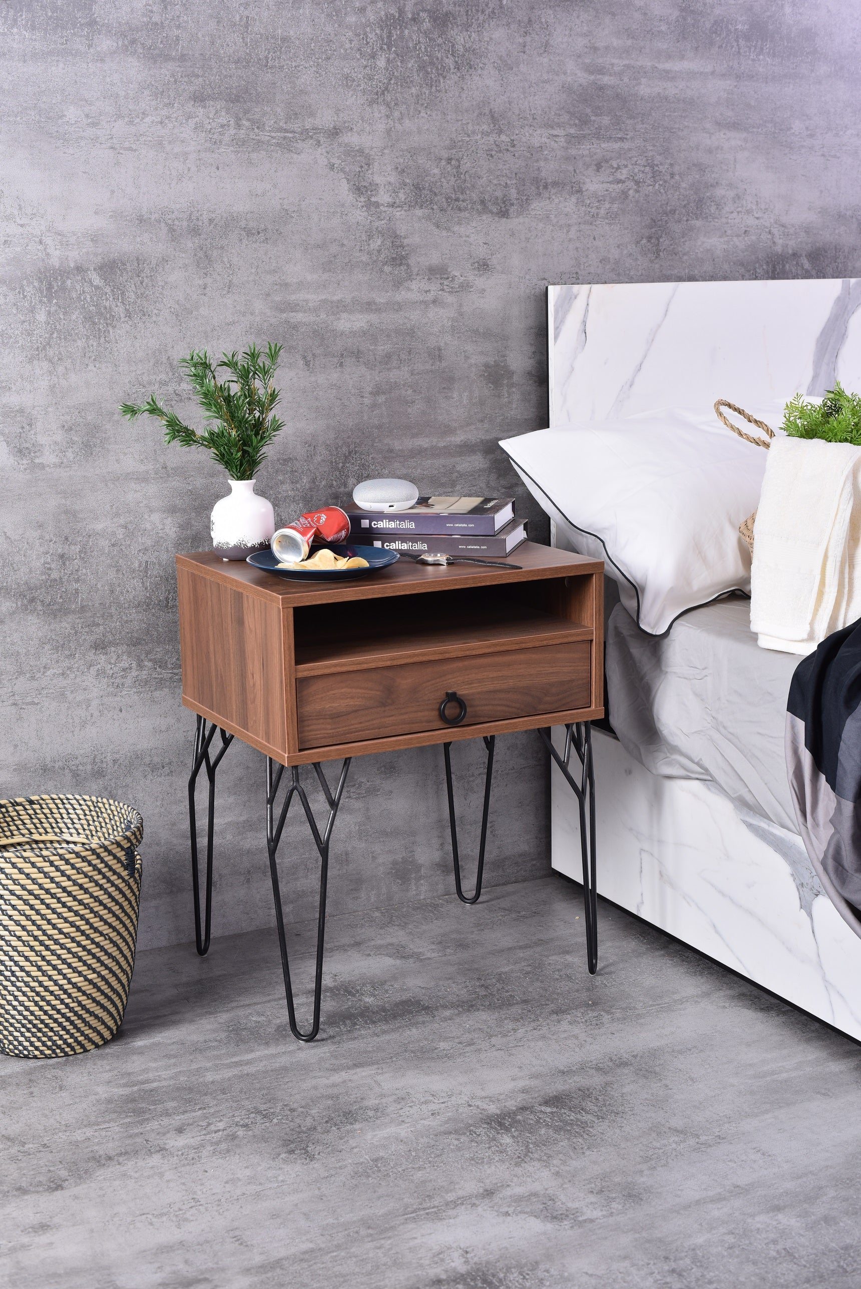 Chloe Bedside Table, Columbia Walnut