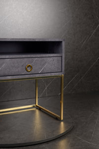 Golana Bedside Table - Grey Stone