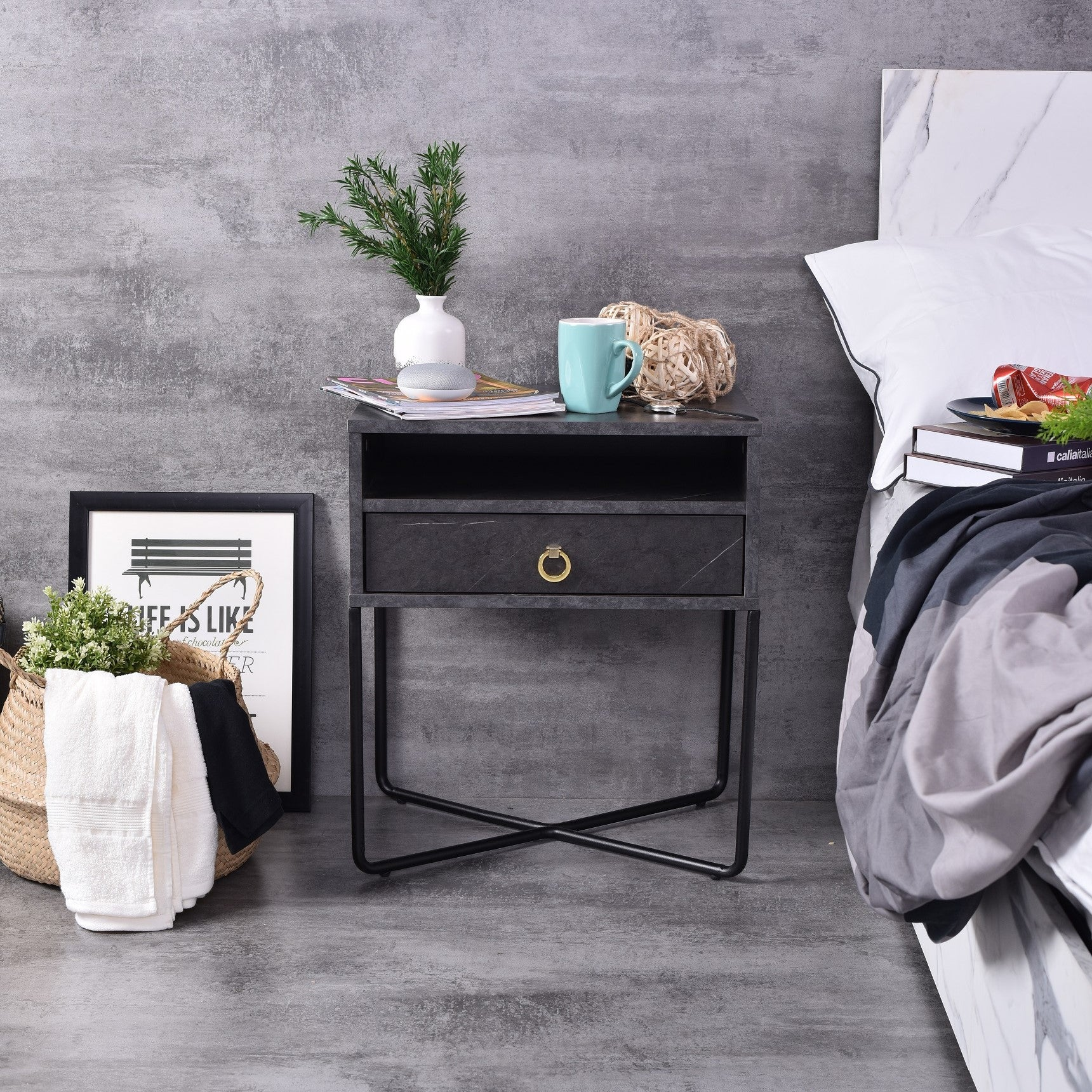 Fredo Bedside Table, Grey Stone