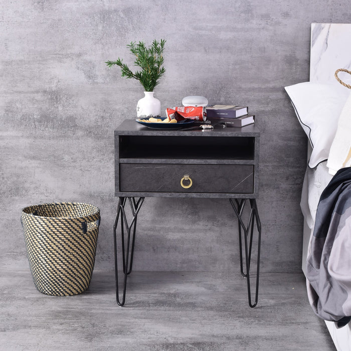 Chloe Bedside Table, Grey stone