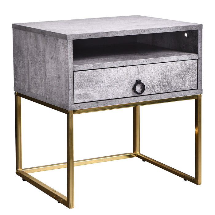Golana Bedside Table - Iron Slate