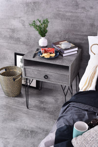 Chloe Bedside Table, Iron Slate