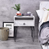 Chloe Bedside Table, Marble