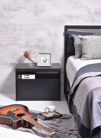 Tanix Bedside Table, Grey Stone
