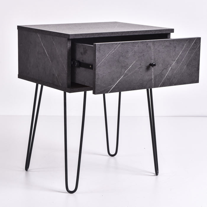 Ashe Bedside Table, Grey Stone