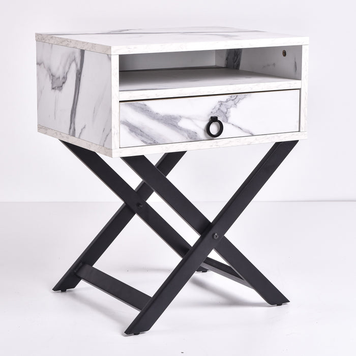 Freya Bedside Table, Marble
