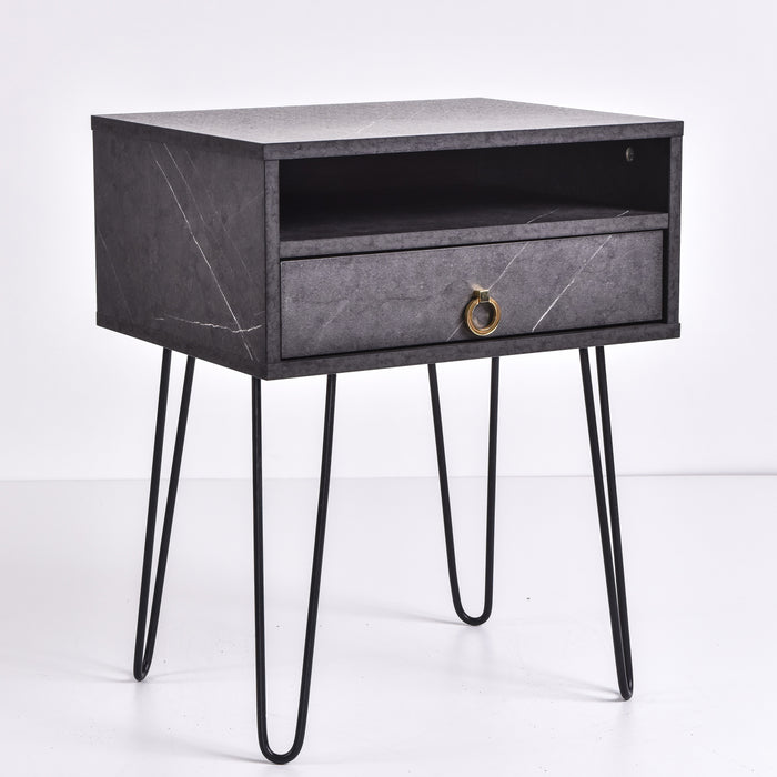Edea Bedside Table, Grey Stone