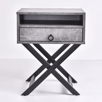 Freya Bedside Table, Iron Slate