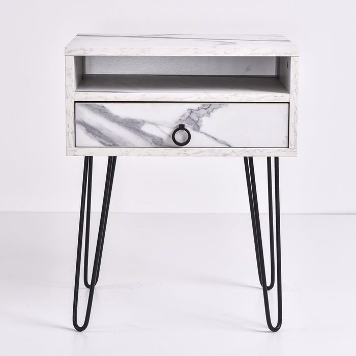 Edea Bedside Table, Marble