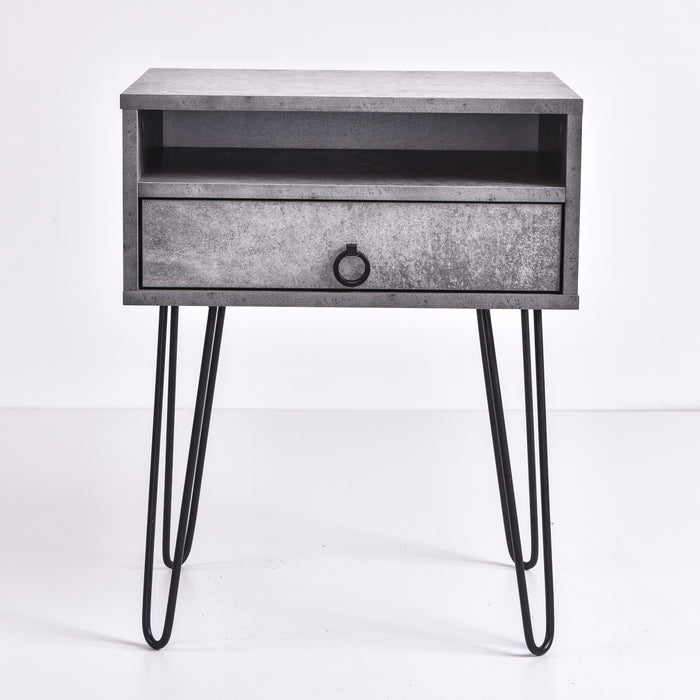Edea Bedside Table, Iron Slate