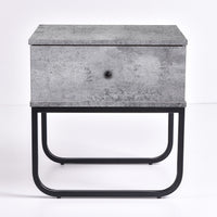 Mitra Bedside Table, Iron Slate