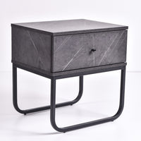 Mitra Bedside Table, Grey Stone