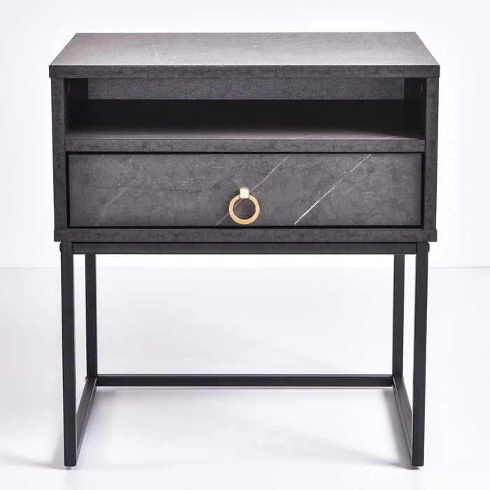 Dana Bedside Table, Grey Stone