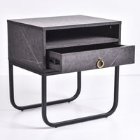 Innis Bedside Table, Grey Stone