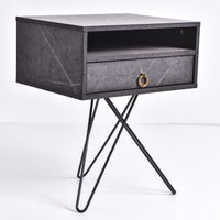Garrett Bedside Table, Grey Stone