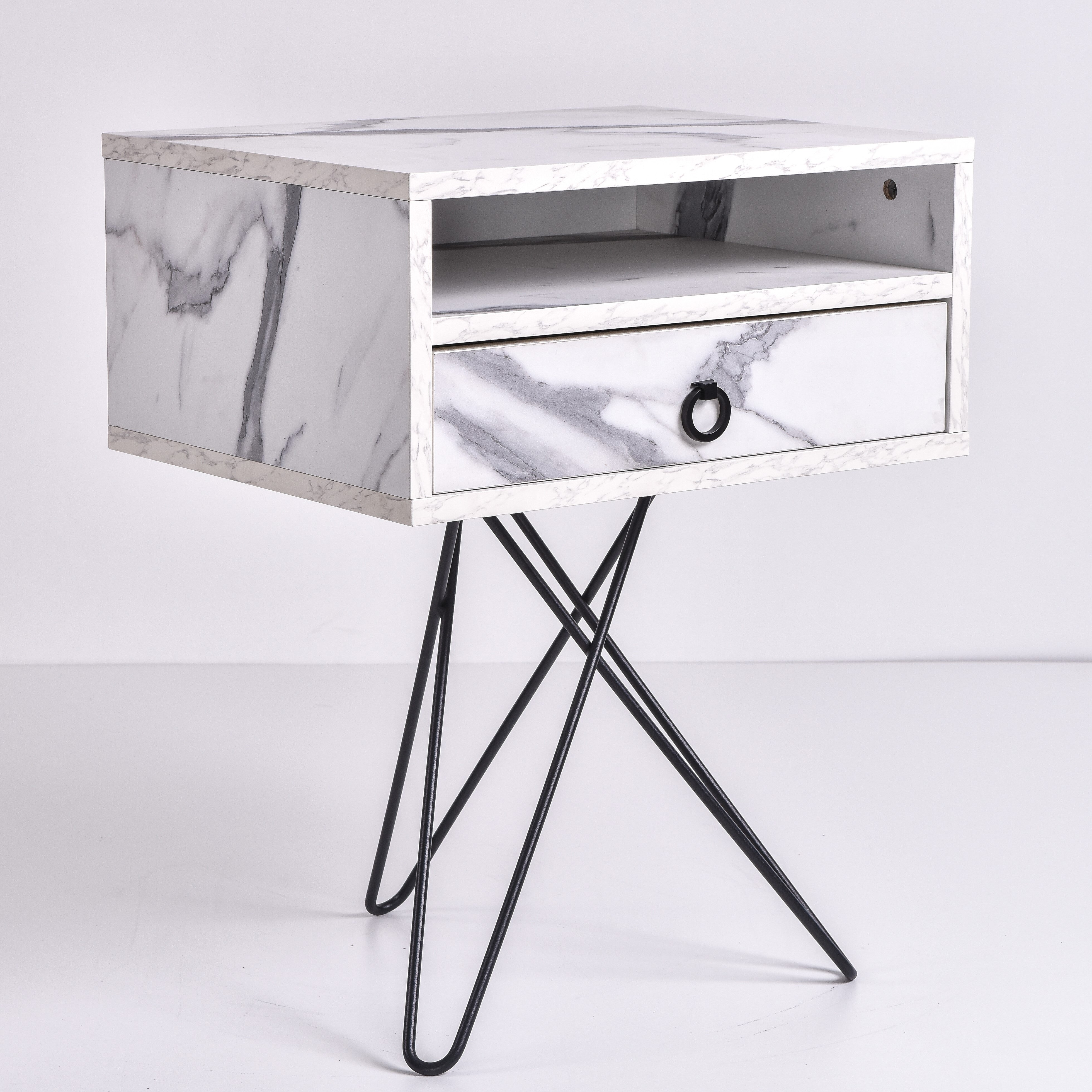 Garrett Bedside Table, Marble
