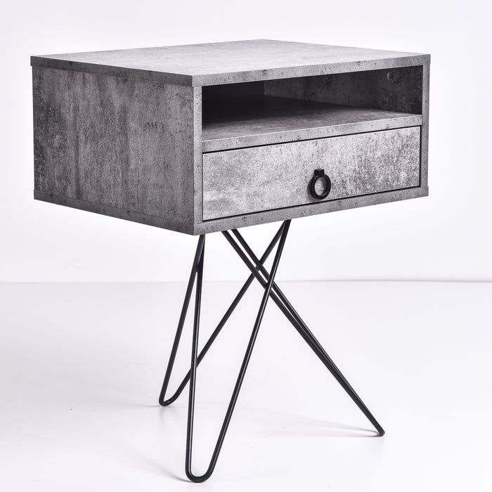 Garrett Bedside Table, Iron Slate
