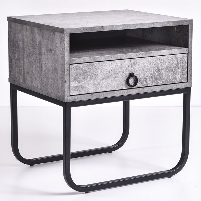 Innis Bedside Table, Iron Slate