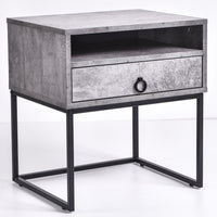 Dana Bedside Table, Iron Slate