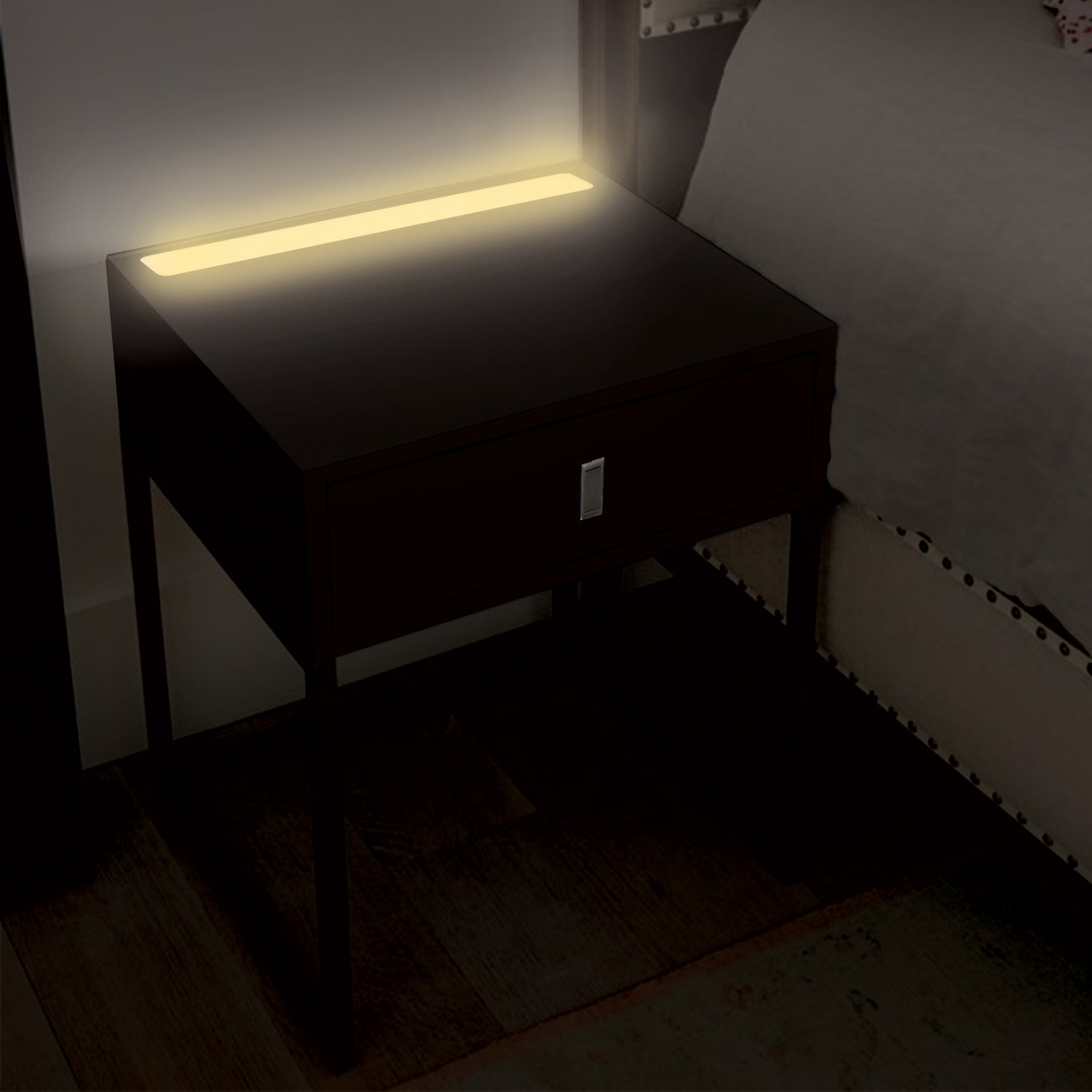 Illuminate bedside table with LED light, black