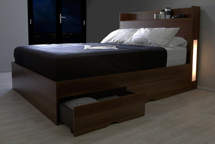 Emma's design Nova w/ Lights  4 drawers storage platform Bed, walnut