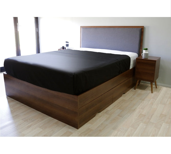 Emma's design limerick 4 drawers storage platform Bed, walnut