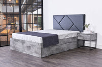 Kelsey 4 drawers storage platform bed, iron slate
