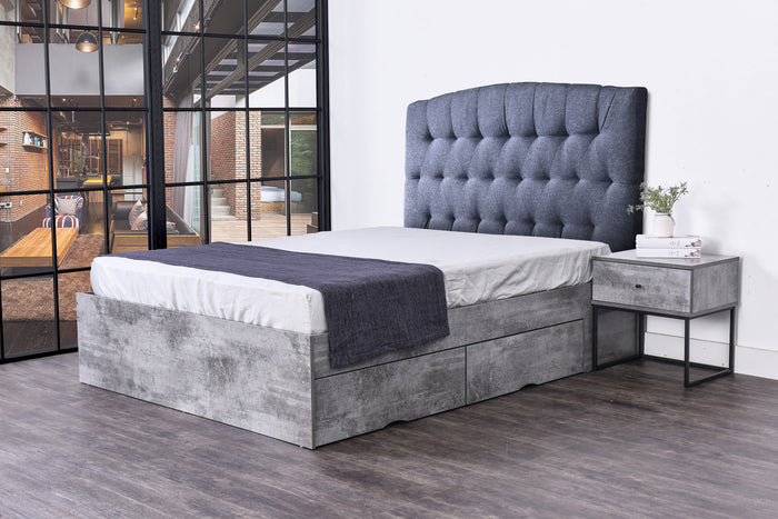 Wilkie 4 drawers storage platform bed, iron slate