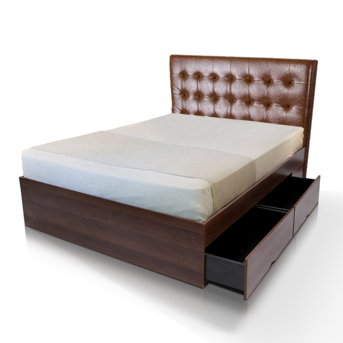Clayton 4 drawers storage platform Bed, walnut