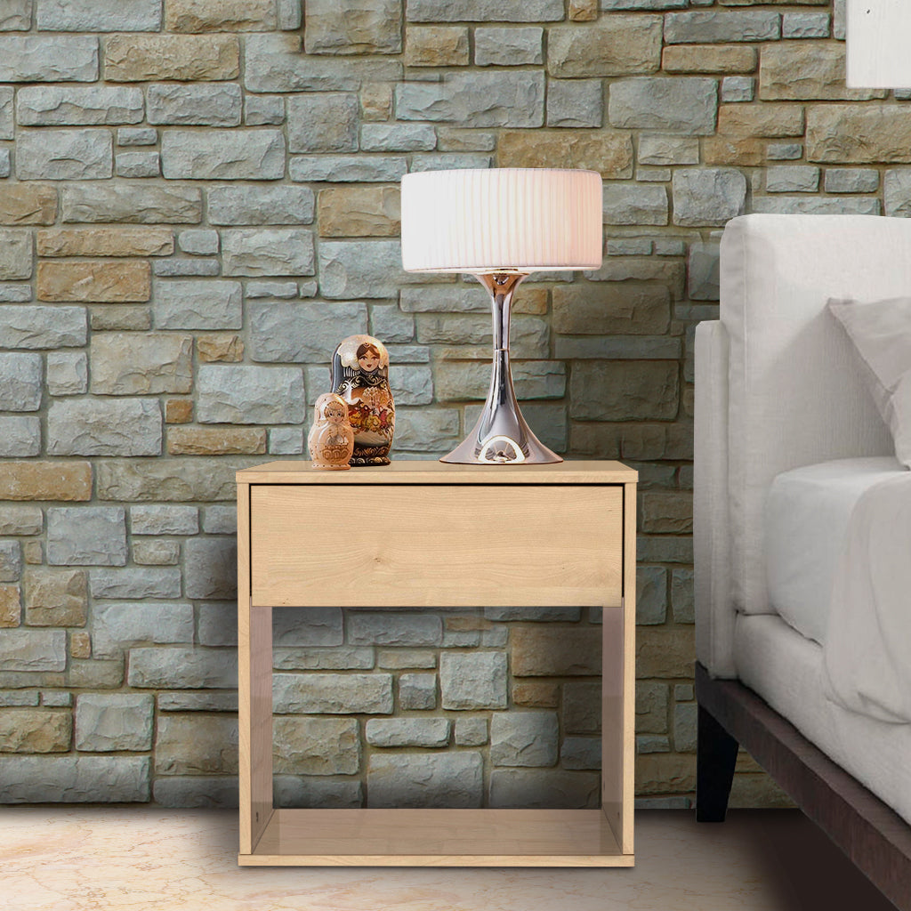 Emma basic 1 drawer bedside table, maple