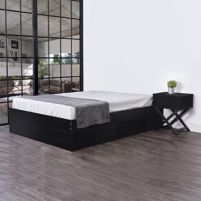 Bozz 4 drawers storage platform Bed, black
