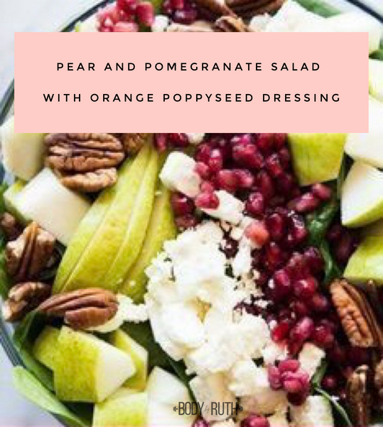 Pear and Pomegranate Salad with Orange Poppy Seed Dressing