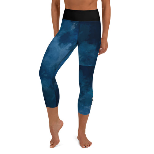 Gritty Girl Blue and Black Yoga Capri Leggings