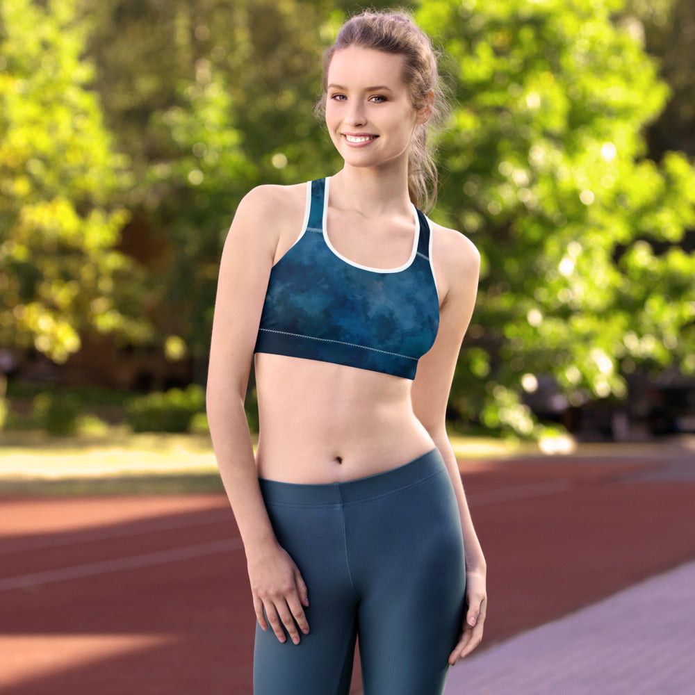 Sports Bra in Dark Blue Water Color