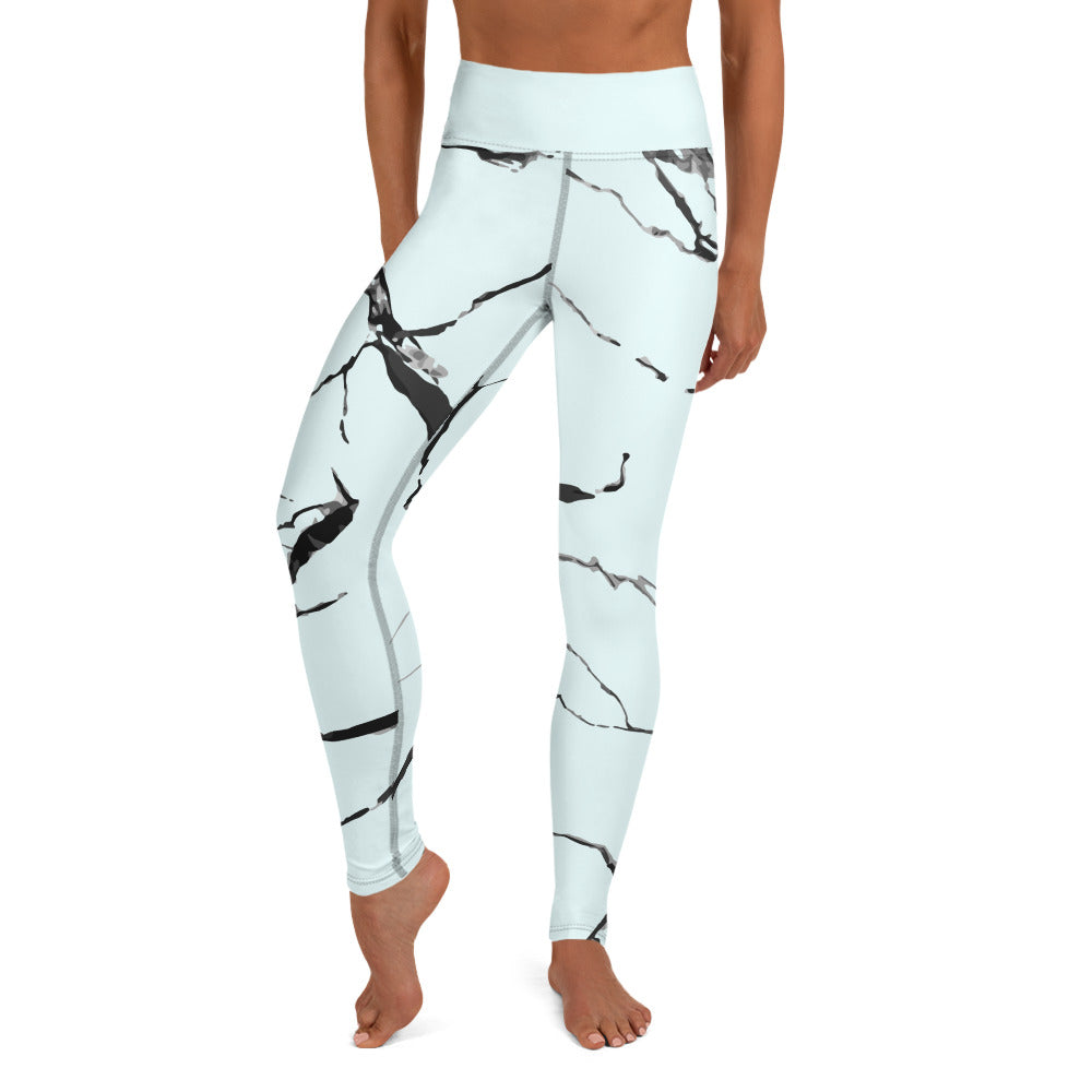 Marble Yoga Leggings in Pale Blue