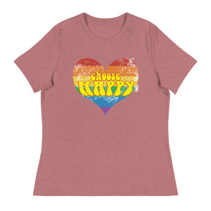Choose Happy 70's Inspired Women's Relaxed T-Shirt