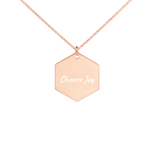 Choose Joy Engraved Silver Hexagon Necklace in Rose Gold