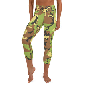 Green Camo Yoga Capri Leggings