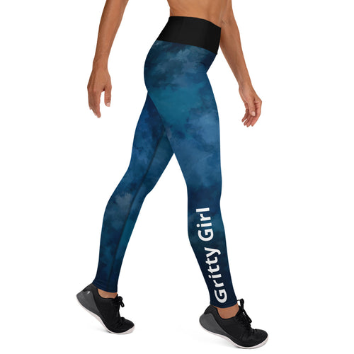 Gritty Girl Yoga Leggings in blue/black watercolor