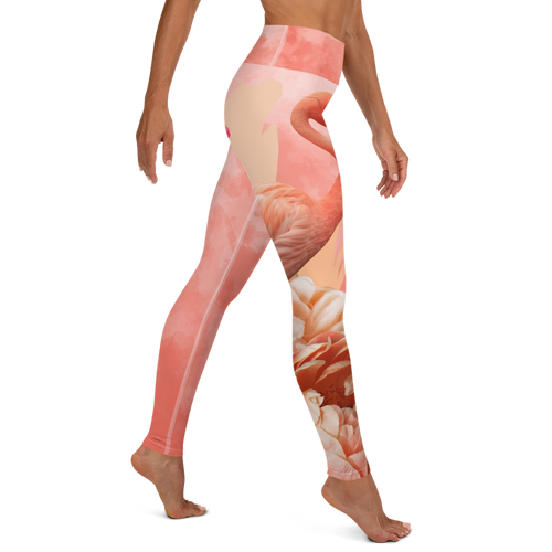 Tangerine Water Color Yoga Leggings with Flamingo